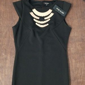 River Island Black Metal Accent Pencil Dress